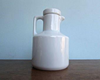 Modern White Celeste Porcelain Cruet, Vintage Modern Design