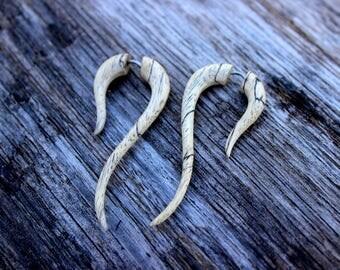 Tamarind Wood Fake Gauges Earrings,tribal style,hand carved,wood Earrings ,Tribal