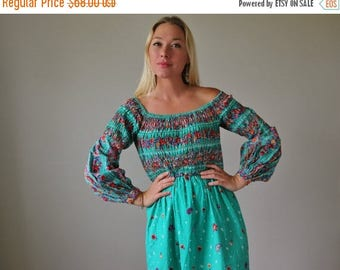 ON SALE 1970s Victor Costa Peasant Dress >>> Extra Small to Small