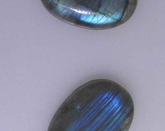 2 Labradorite oval cabs, blue and green blue color flashes, 58.06 carats t.w.              043-10-265