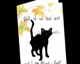 Cat Greeting Card-Black Cat-Fall-Autumn