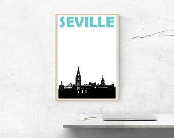 Seville Print // Spain Art // Sevilla // Seville Poster // Seville Art //  Spain Print // España // Spanish Art // Spanish Gift