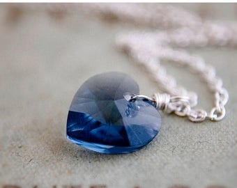 Crystal Necklace, Crystal Heart, Heart Pendant, Blue Crystal, Denim, Cornflower, Sterling Silver, Swarovski Crystal, Swarovski Heart