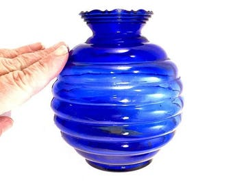 ON SALE cobalt blue glass  vase ribbed pattern balloon vase antique deep blue glass