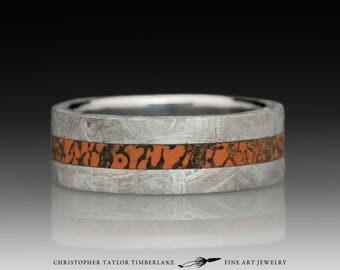 Meteorite Ring with Dinosaur Bone Inlay