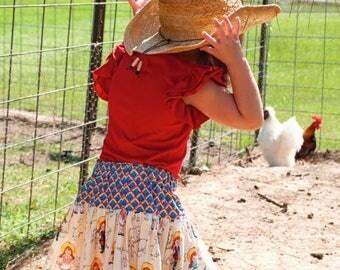 ON SALE Girls Skirt - Girls Farm Animal Skirt - Girls Western Twirl Skirt- Farm Girl Skirt- Farm Skirt- Farm Animal Skirt