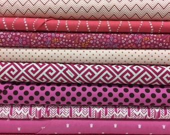 Quilt Sandwich's Color Pack - 10 Fat Quarters - Pink