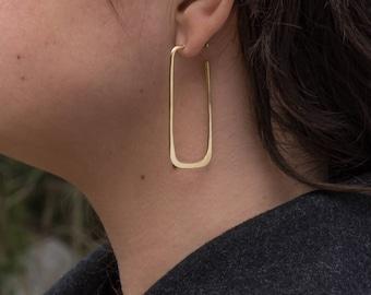 18k Gold Geometric Earrings- Long Rectangle