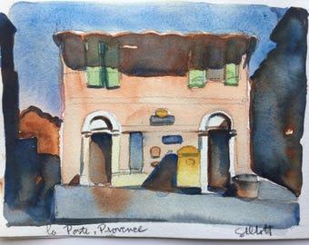 "Provencal la Poste, Villars, original watercolor 9 1/4"" x 6"" #2"