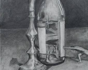 Chess is a graphite on paper drawing and measures 18inx24in