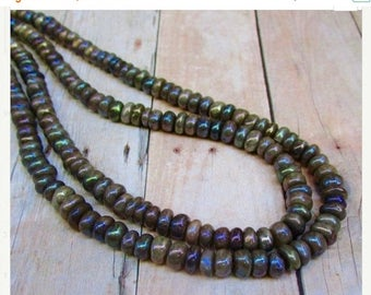 SALE 20% Off Mystic Rainbow Moonstone Rondelle Beads, 7mm Natural Mocha Gemstones 16 Inches