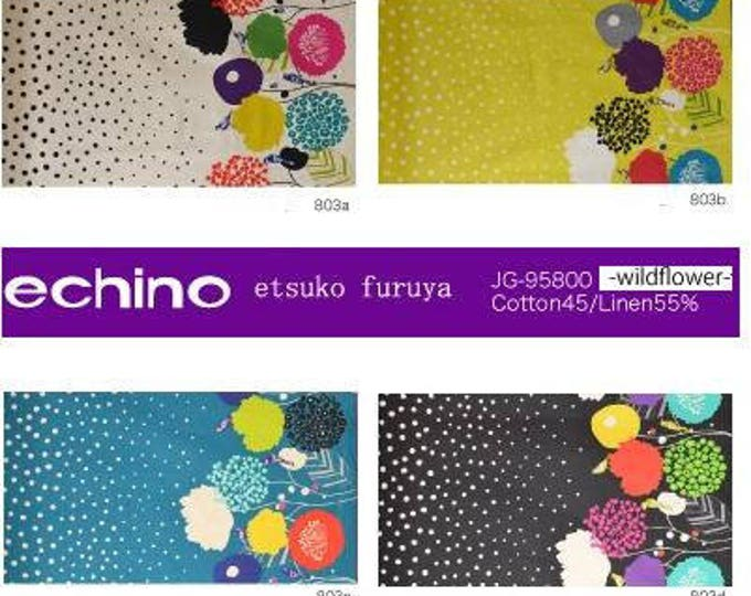 Echino Wildflower EF803 by Etsuko Furuya - Cotton Linen Fabric , color of your choice by the yard
