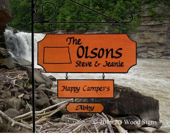 State Outline Camping Sign with 2 add ons - Custom Wood Sign - RV Sign - with Sign Holder perfect for cottage or lake Deal