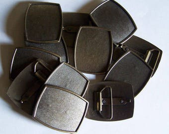 Lot of 6 Inlay Buckle Blanks - 1 3/4 Inch Antiqued Brass Finish Belt Buckles