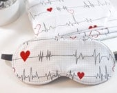 Heartbeat Sleep Mask, Pulse Rate Graph Novelty Slumber Party Gift, Cute Fun Doctors Nurses Adjustable Comfortable Cotton Sleeping Eye Cover
