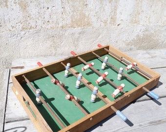 ON SALE Vintage 1930/1950s French Lovely mid century Vintage Wooden Tabletop FOOTBALL - Baby Foot - soccer table folding