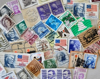 over 100 Vintage Used Postage Stamps / Paper Ephemera, Scrapbooking, Art Projects