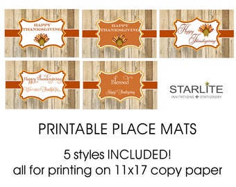 Thanksgiving Placemats Printable, INSTANT DOWNLOAD Thanksgiving Printable 11 x 17 Placemats, Thanksgiving Placemats for Kids Printable