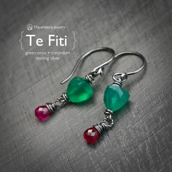 Te Fiti Goddess of Creation  - Green Onyx and Corundum Sterling Earrings