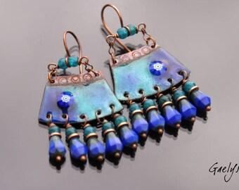 Leelou - copper earrings enameled pendant Picasso glass / apatite - Bohemian chic Style - bo Gaelys