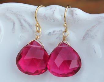 Tourmaline color earrings, Gem Earrings, Tourmaline earrings - gold earrings - October Birthstone, clip on option, Tourmaline jewelry