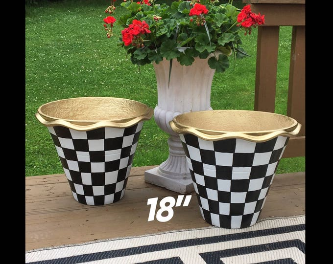 "Whimsical Painted Planters pots // 18"" Terra Cotta pots //scalloped edge planters"