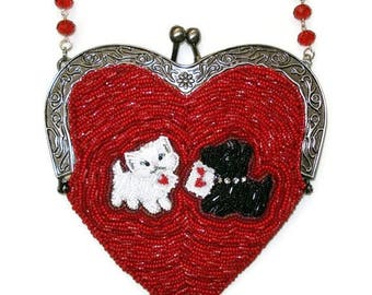 CUSTOM beaded heart shaped purse or fashion handbag featuring your dog, pet, or favorite animal:)