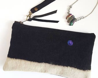 REPURPOSED Denim Clutch. Galaxy Bag. Planets. NASA. Bleached Denim. Leather Bag. Upcycled Denim. Recycled Leather. Ready To Ship.