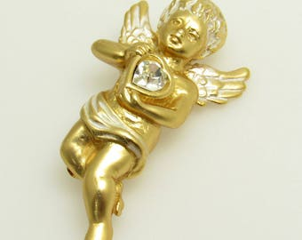 Cupid Heart Brooch Vintage Jewelry P8628