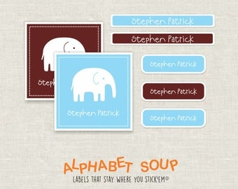 54 blue chocolate elephant personalized labels | dishwasher safe, personalized, waterproof stickers