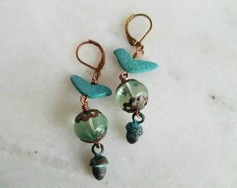 50%OFF Turquoise Bird Earrings with Acorn Dangles, Verdigris Patina, Copper, Heishi Birds