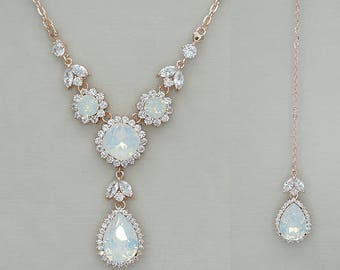 Back Drop Necklace, Back Drop Bridal Necklace, Back Drop Wedding Necklace, Rose Gold Wedding Necklace, Swarovski White Opal Crystal Jewelry