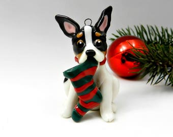Rat Terrier Toy Fox Terrier Christmas Ornament Figurine  Stocking Porcelain