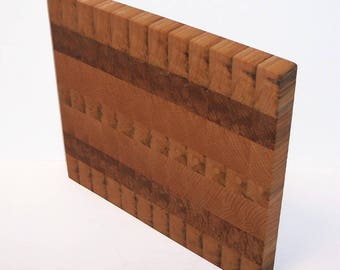 OOAK END GRAIN Cutting Board / Chopping Block Handcrafted from Oak and Maple Hardwoods