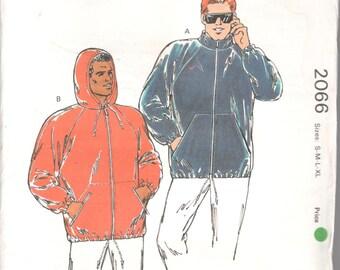 Kwik Sew 2066 Mens Windbreaker Rain Jacket Pattern Hoodie Muff Pocket Adult Teen Vintage Sewing Pattern Size SM  M LG Xl Chest 34 - 48 UNCUT