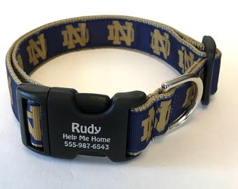 Notre Dame Fighting Irish Football Personalized Dog College NCAA Fans Made in USA Unisex Collar Gift for Notre Dame Fans
