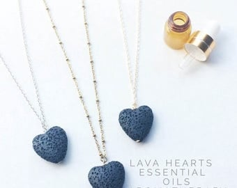 SUMMER SALE LAVA Rock diffuser jewelry for essential oils - lava heart necklace / aromatherapy jewelry