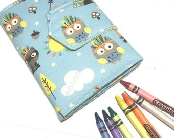 Owl Camping wallet, Crayon holder, Travel toys, Boys wallet , gift for kids, summer toy, Washable wallet, crayon organizer, camping gift