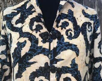 Vintage batik maxi dress 60's 70's lounge 1960's 1970's