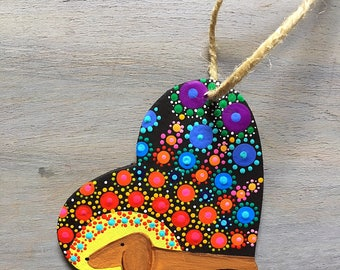 Dachshund Christmas Ornament Hand painted Heart Mandala/wooden ornaments