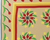 Immaculate Hand Applique Spring Tulips FINISHED QUILT with fun tulip Borders