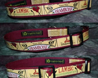 Adjustable Dog Collar from Recycled Lindemans Framboise Lambic Beer Labels