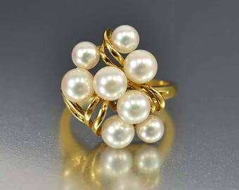 Vintage Pearl Ring | Mikimoto Pearl 18K Gold Ring | Akoya Pearls Cluster Ring, Cultured Pearl Ring | Birthstone Ring | Statement Ring