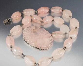 Antique Sterling Silver Rose Quartz Necklace, Art Deco Necklace, Hand Carved Flower Quartz Pendant, Pink Stone Necklace, Antique Jewelry