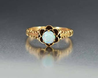 Antique 14K Gold Opal Ring | Opal Engagement Ring | Gold Antique Engagement Ring | Alternative Wedding Ring | Victorian Ring | Antique Ring