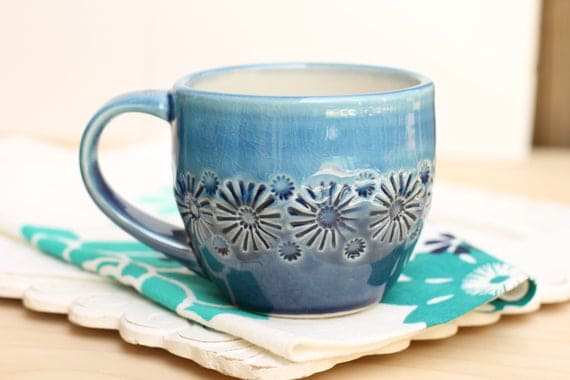 blue mug, porcelain