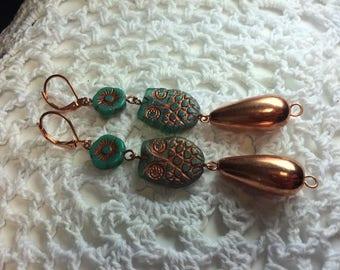Owl drop earrings with copper dangles