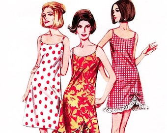 SALE 25% Off 1970s Dress Pattern, Womens Slipdress Pattern, Misses size 16 Bust 36 Curved Hem Slip Dress Vintage Sewing Pattern