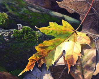 Autumn Leaf Art Watercolor Painting Print by Cathy Hillegas, 11x14 art, autumn art, watercolor print, maple leaf art, woodland art, yellow
