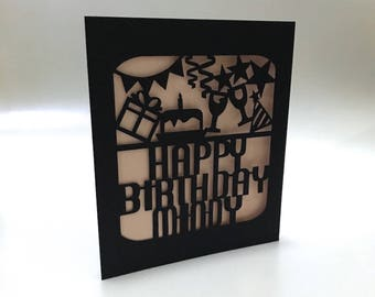 Custom Happy Birthday Paper-cut Card